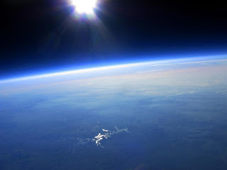 view of earth from a weather balloon