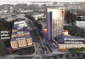 Metrokeskus, kaupallisia palveluja, uusia asuntoja, toreja ja katuja