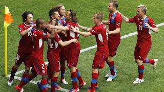 Celebración gol checo