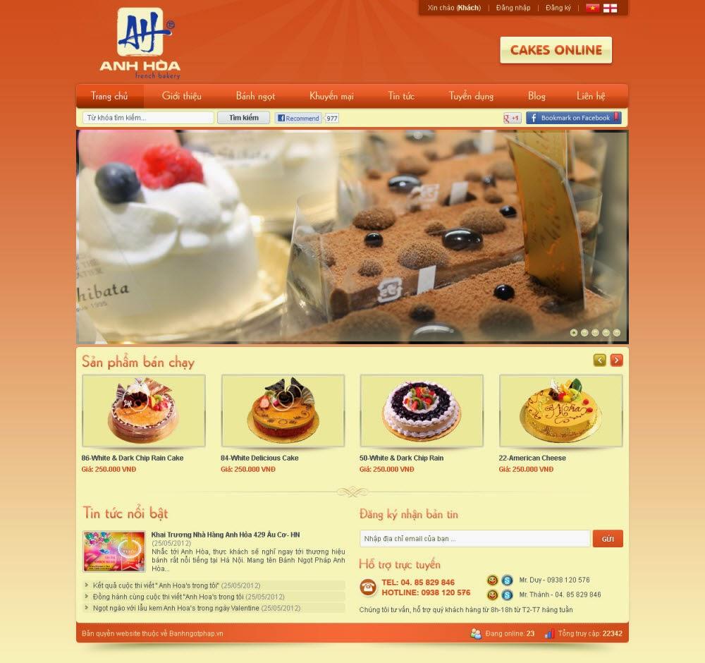 thiết kế website bán hàng bánh ngọt