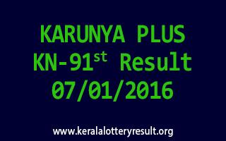 KARUNYA PLUS KN 91 Lottery Result 7-1-2016