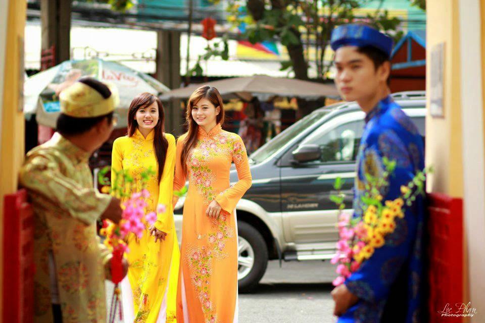 Hotgirls Châu Dương thướt tha với tà áo dài đi chơi tết 3