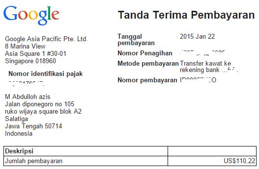 Gajian Google Adsense Pertama Via Transfer Bank
