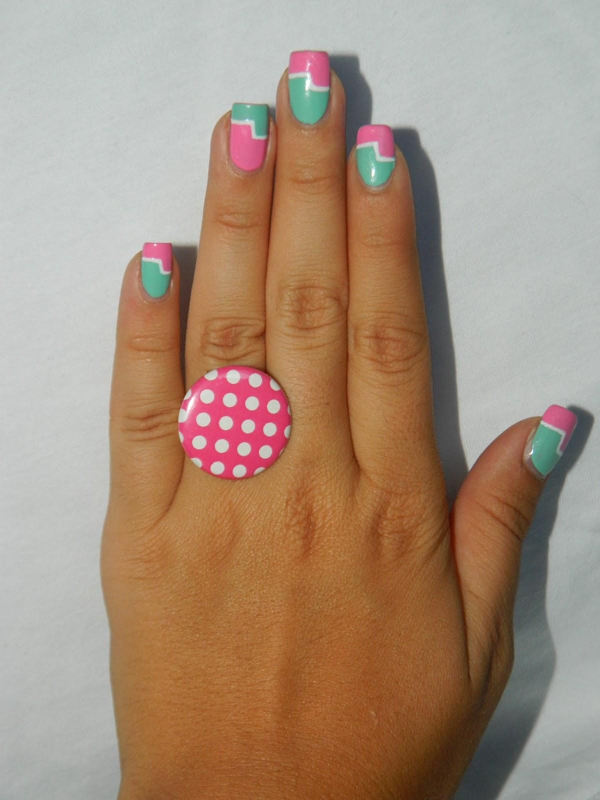 Idée Vernis Facile avec mattylda: nail-art facile mint & rose