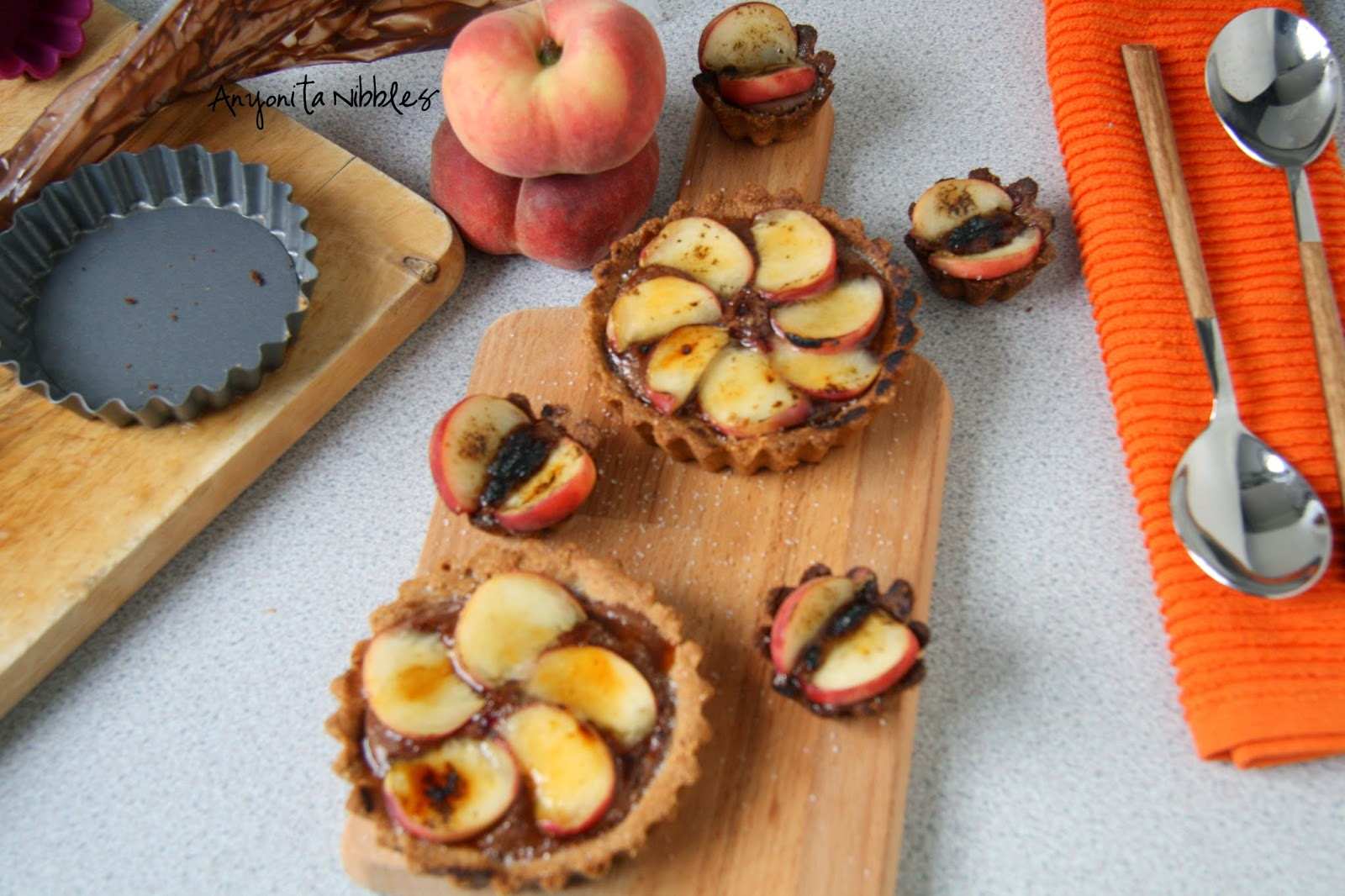 Brûléed Peach & Nutella Tarts & Materials by Anyonita Nibbles
