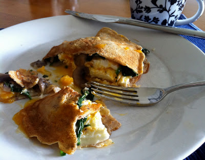 Breakfast Crepes with Mushrooms, Spinach, and Eggs @ Southern Spoon Blog