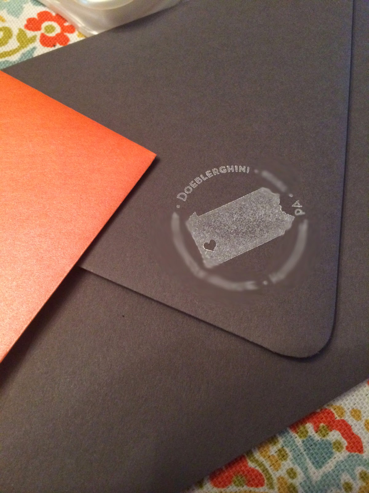 Doeblerghini Bunch:  Our fancy orange and grey envelopes