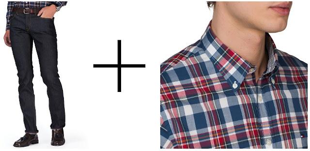 pantalones vaqueros slim con camisa de cuadros leñador