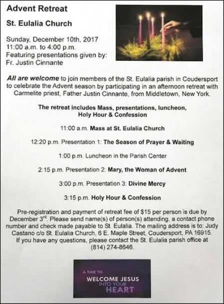 12-10 Advent Retreat, St. Eulalia, Coudersport