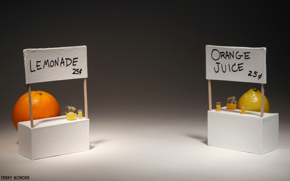 Terry Border, Bent Objects, Lemonade stand / Orange Juice