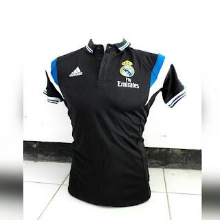 gambar detail baju bola polo klub spanyol Baju bola Polo Real Madrid warna hitam terbaru musim 2015/2016