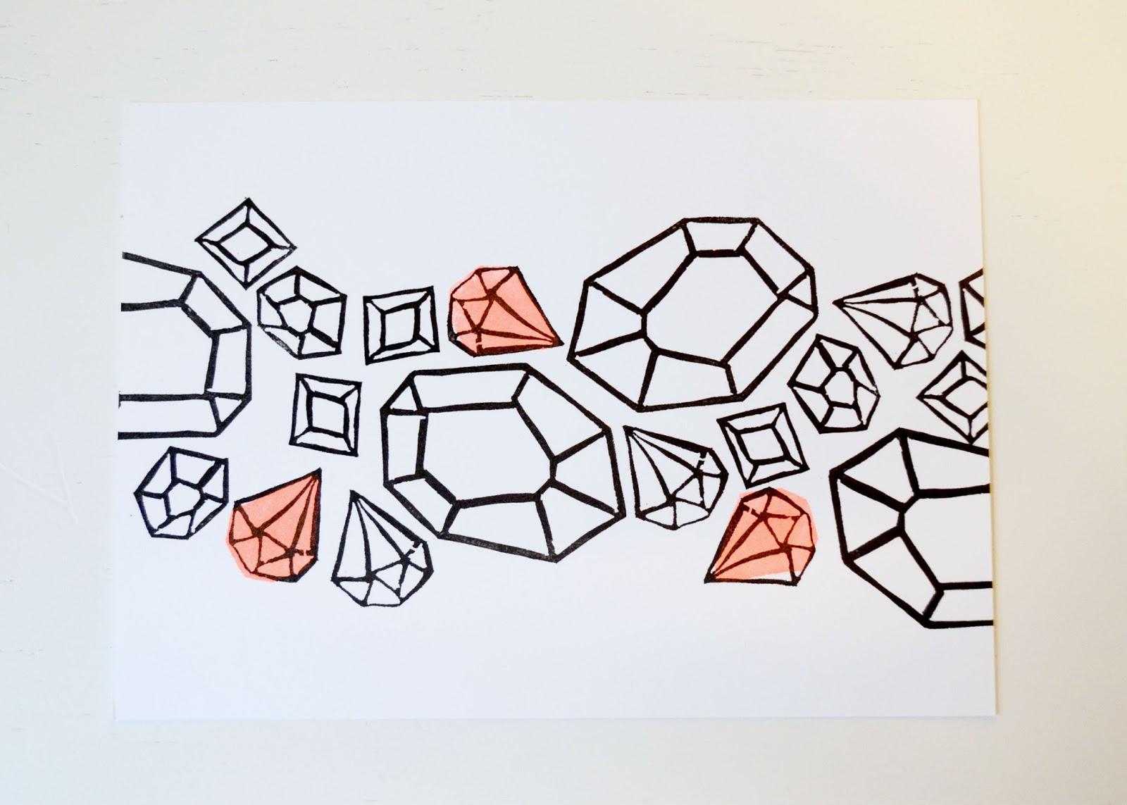 gems, jewels, geode, geometric, fleur d'elise, coral, neon