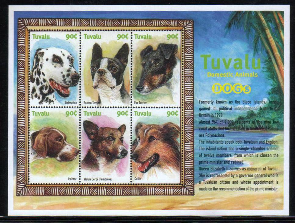 年度不明 ツバルダルメシアン、ボストン・テリア、フォックス・テリア、ポインター、ウェルシュ・コーギー・ペンブローク コリーの切手シート