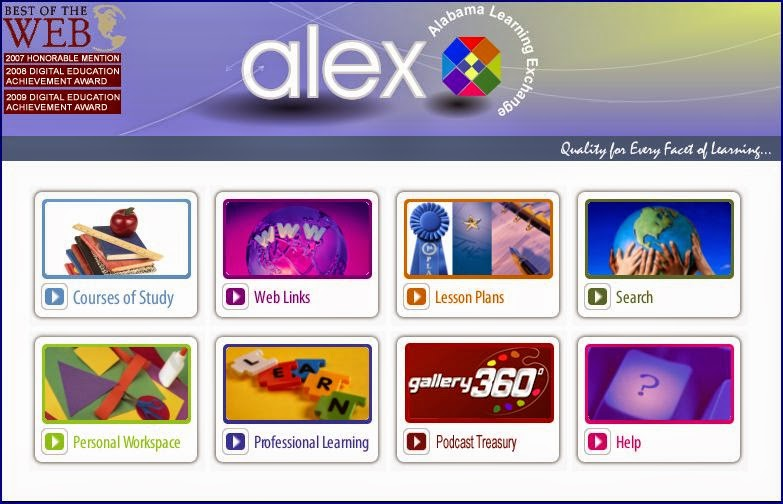 screenshot of ALEX homepage