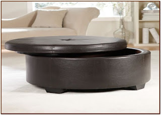 round coffee table with storage ottomans