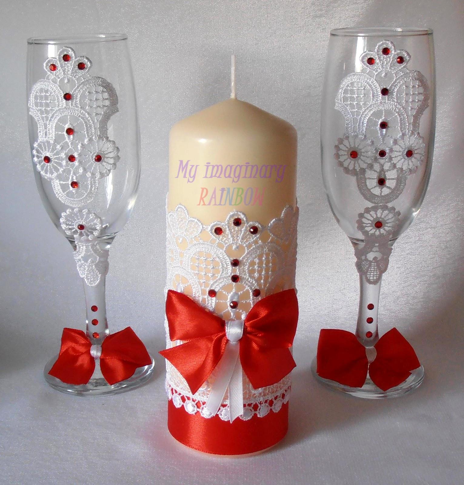 Украшение свадебных бокалов своим руками 687