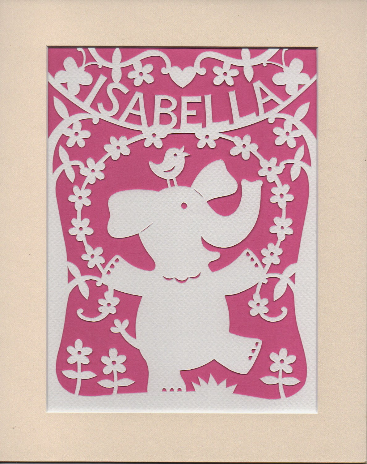 personalised papercut of dancing elephant
