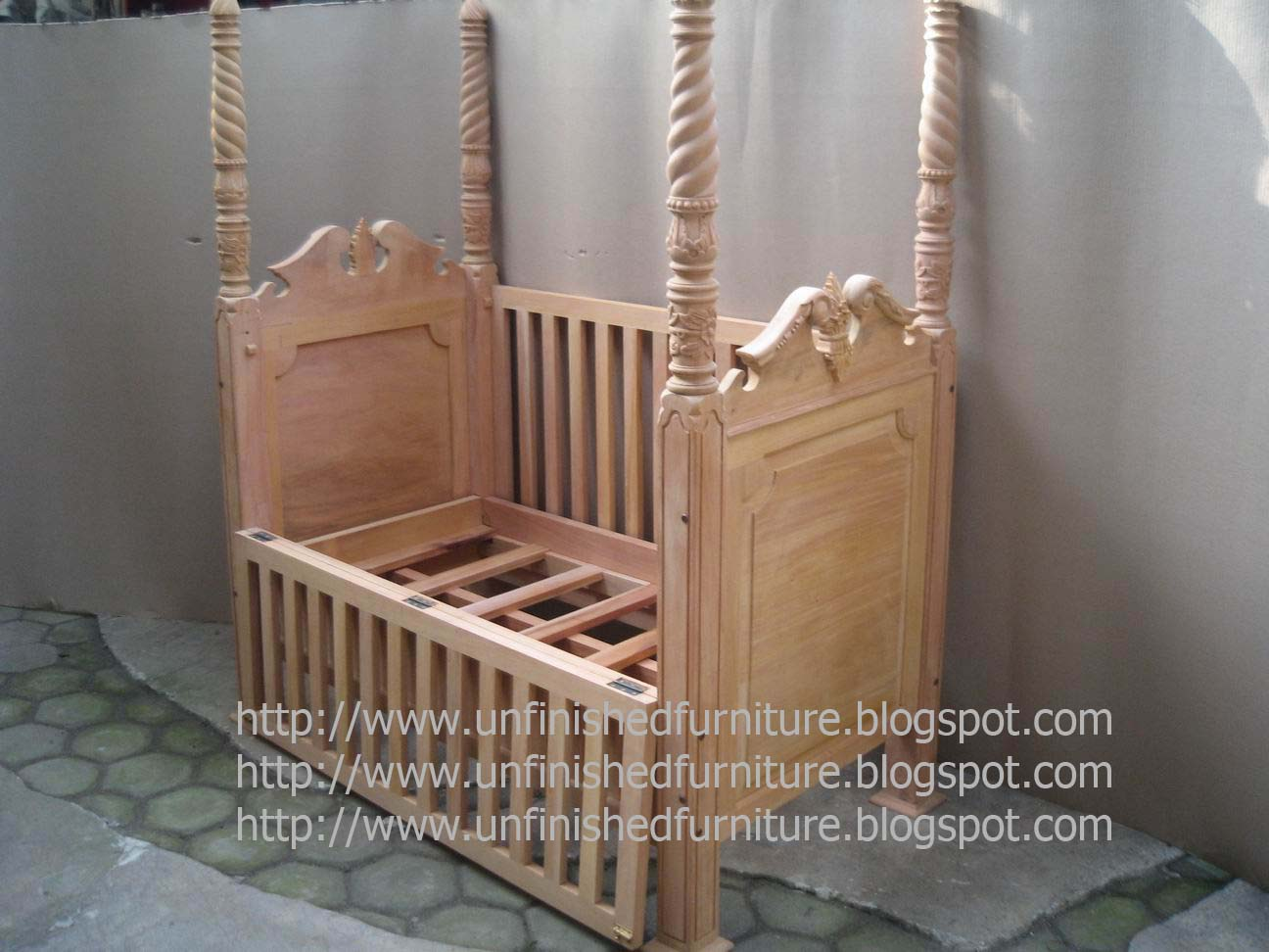 Baby cribs unfinished wood - Indonesia Furniture Supplier Solid Wooden Baby Bed Unfinished