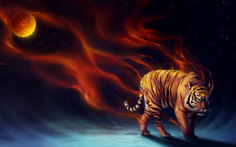 Tiger Fantasy Night Moon hd wallpaper