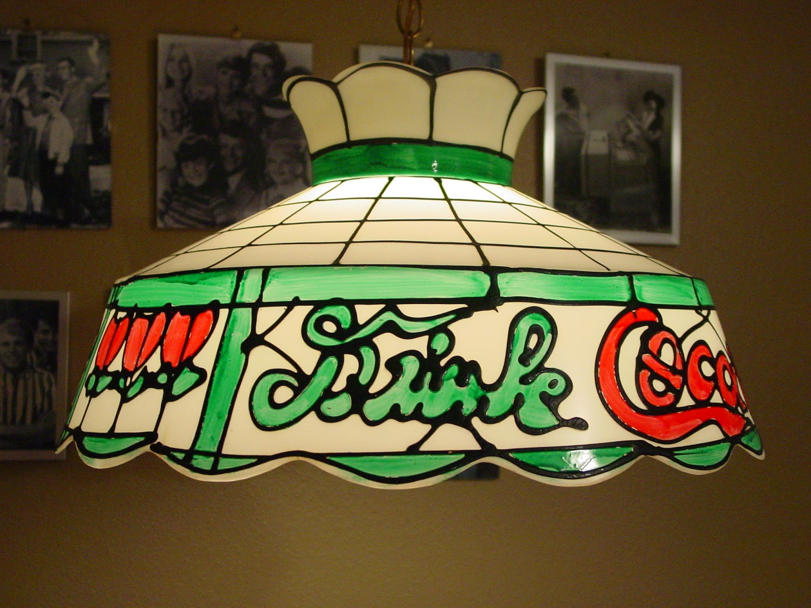 Garage sale finds coke light its made to look like one of those old tymey stained glass tiffany style soda fountain lights but i think it probably dates from the arubaitofo Image collections