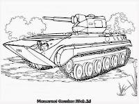 Gambar Mobil Tank Tempur Hitam Putih Untuk Mewarnai