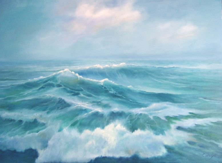 Freaque Waves: A painting of ocean waves in the open sea