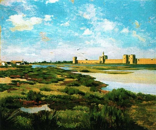 Фредерик Базиль. Стены замка Эг-Морт. 1867.