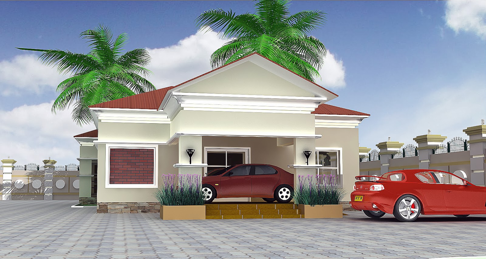A 3 Bedroom Bungalow Designed With AutoCAD 2D ArchiCAD 3D Modelling And 3Dmax Rendering