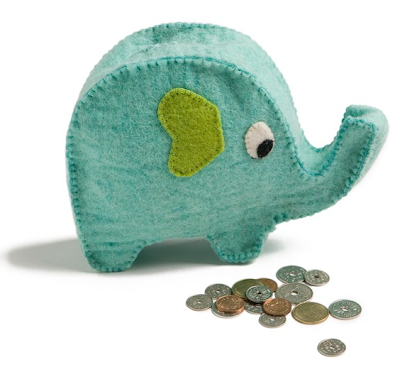 felt coin bank shaped like an elephant