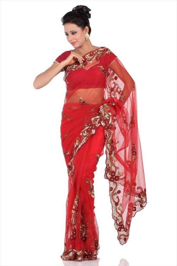 latest Maroon Net Sarees