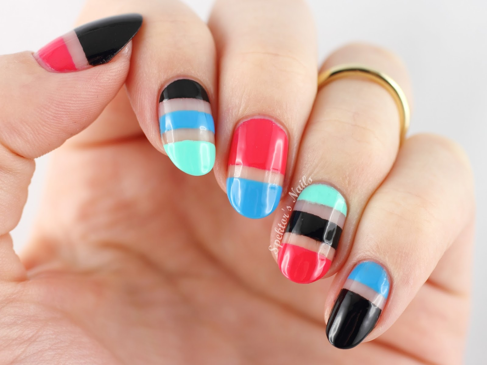 Cut Out & Striped Nail Art