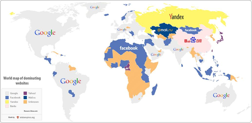 World Map Of Most Visited Websites
