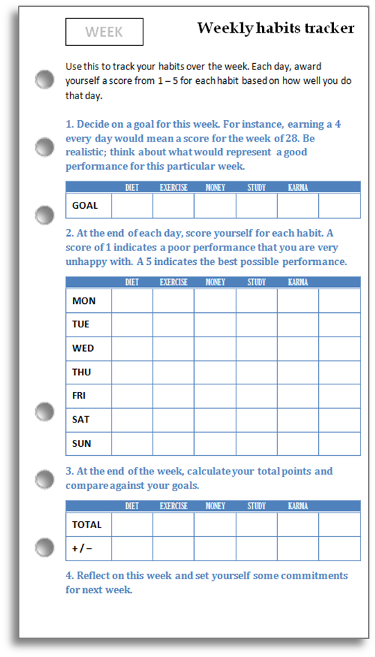 Influential image regarding weekly habit tracker printable