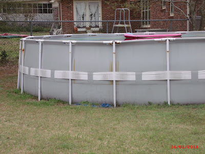"Intex 24' X 52"" metal frame above ground pool at five years old"