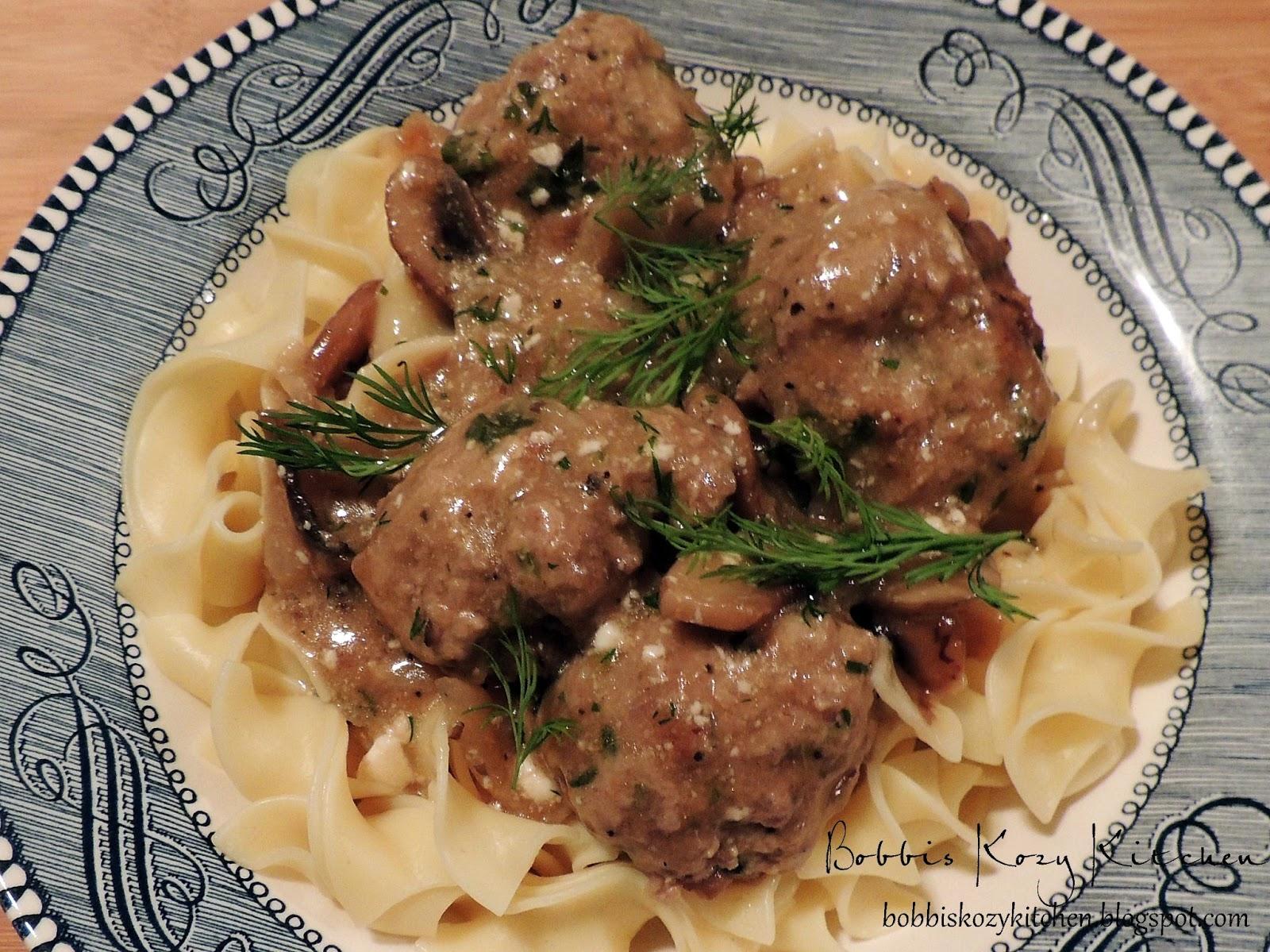 Meatballs with Creamy Greek Yogurt Mushroom Sauce | Bobbi's Kozy ...