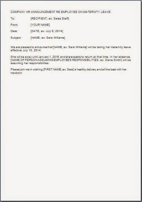 Leave Announcement Letter Format