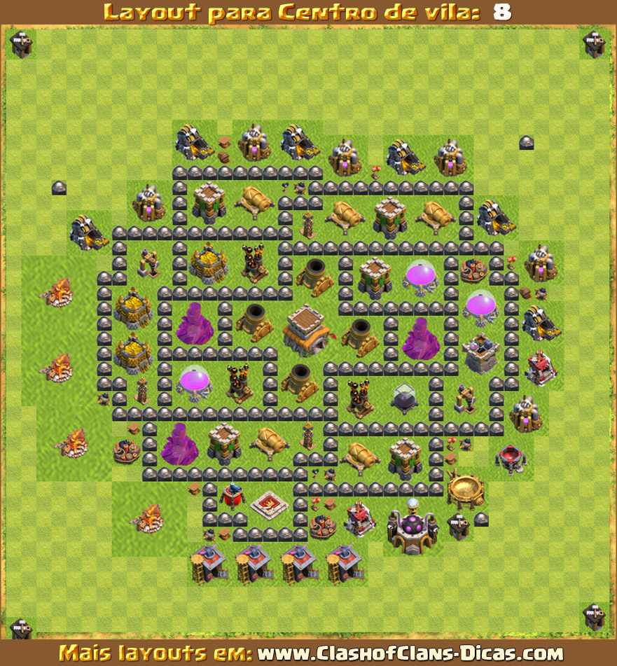 Layouts de Centro de vila 8 para Clash of Clans - Clash of