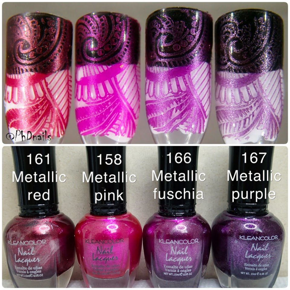 PhD nails: Kleancolor Awesome Metallic polish stamping swatch review