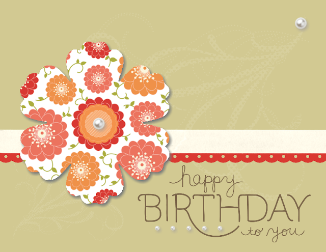 Birthday card created using MDS. Large flower-shaped punch filled with floral pattern.