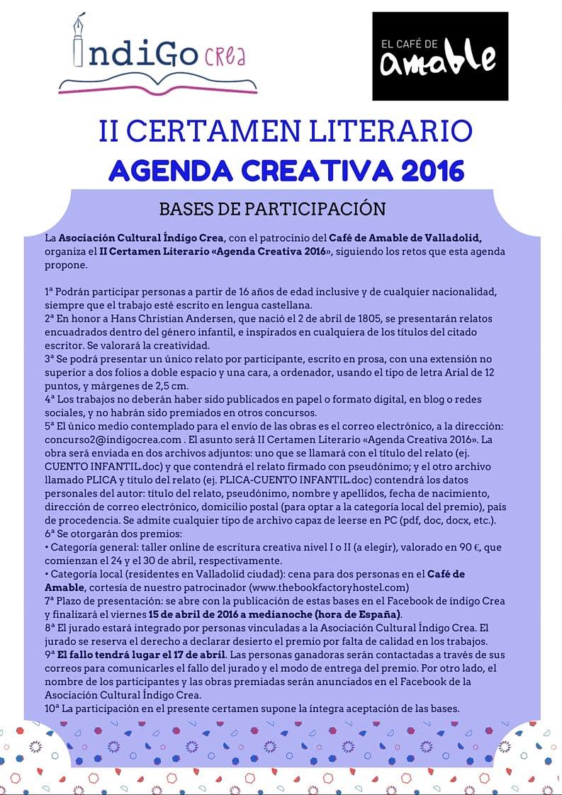 II Certamen Literario «Agenda Creativa 2016»