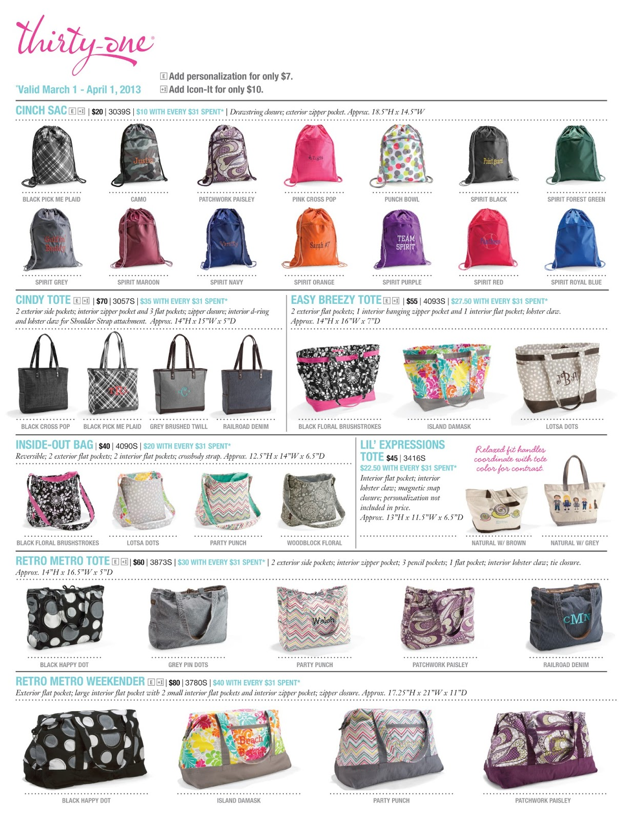 Thirty-One March Customer Special