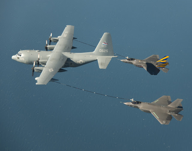 F-35C Lightning II and KC-130 Hercules