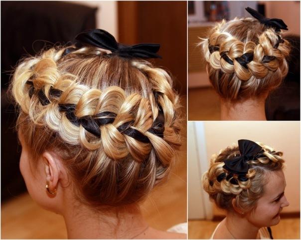 Причёски с косичками на средние волосы фото своими руками