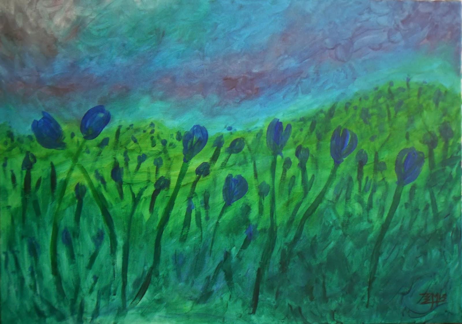 Arte abstracto, expresionismo, tulipanes, óleo y acrílico, www.eliasmonsalve.com, facebook.com/eliasmons