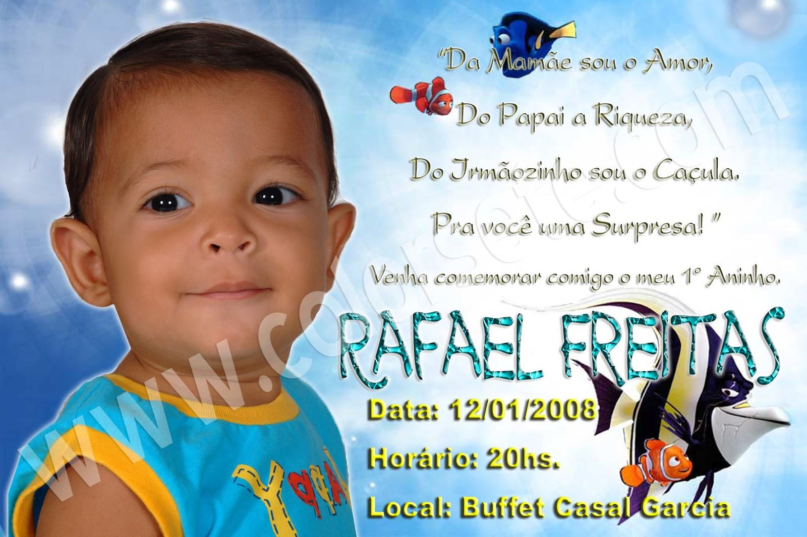 Convite De Aniversário De 1 Ano Tema Nemo Rafael Freitas Color 7