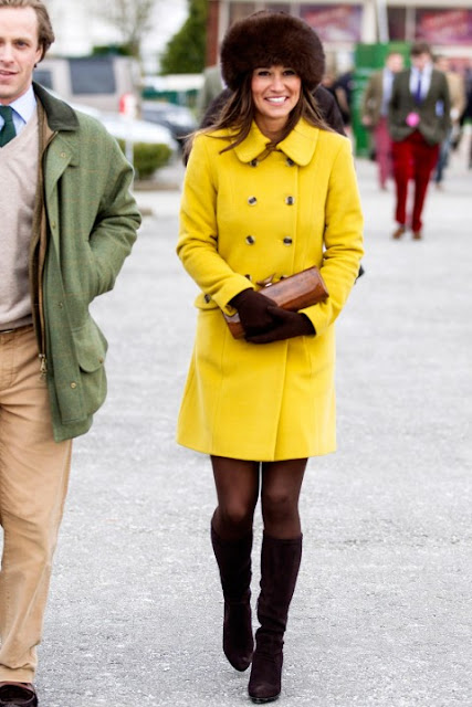 Pippa Middleton in bright yellow Katerine Hooker coat here's how to GET THE LOOK
