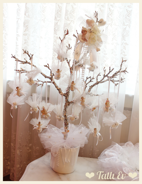 Beyaz Melek Temalı Bebek Şeker Ağacı ve Sepeti