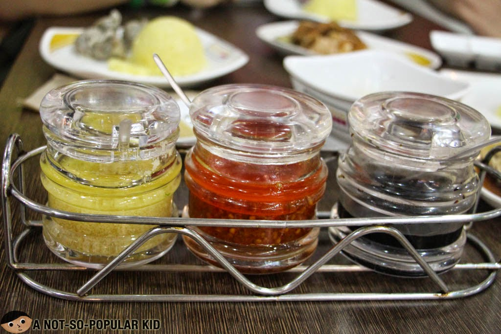 The 3 sauces available in Hainanese Delights