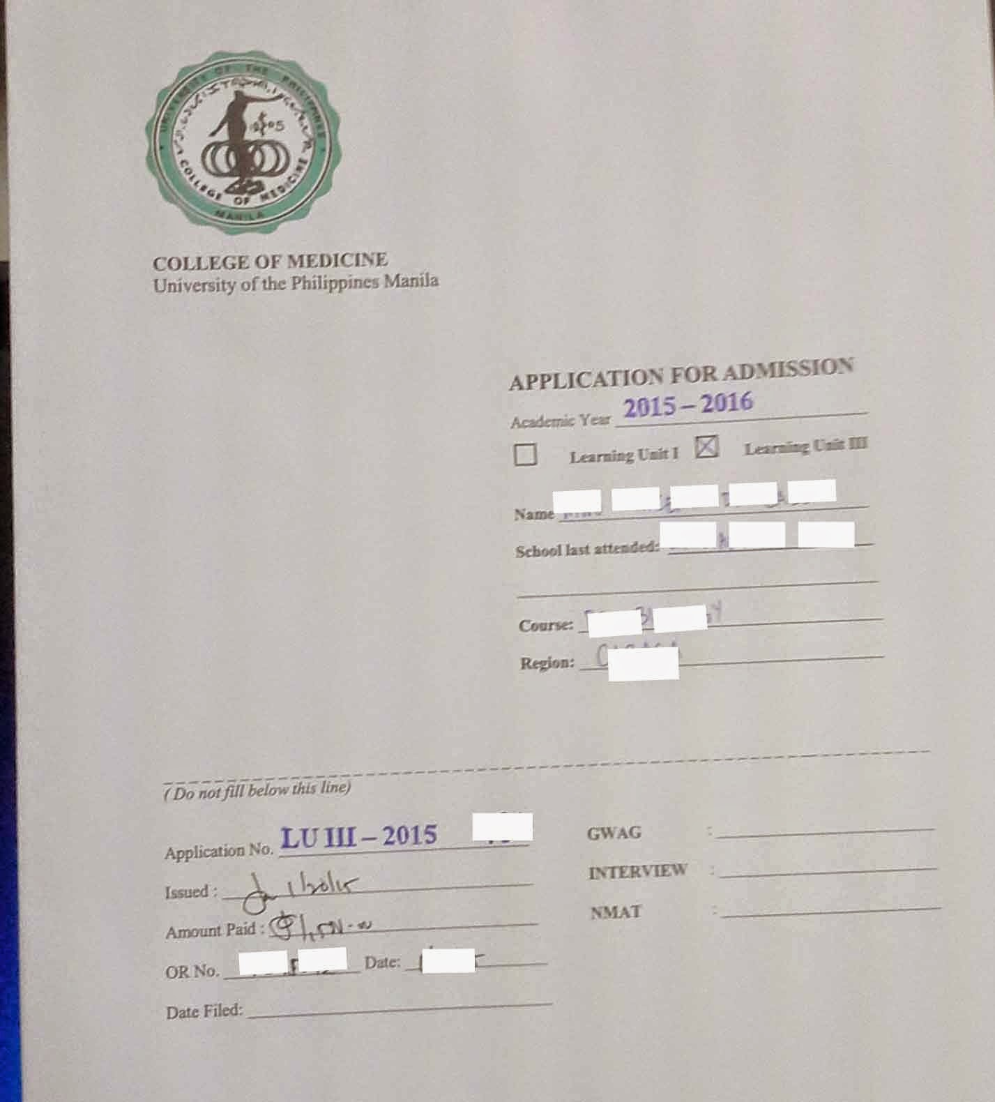 UP College Of Medicine Application Form