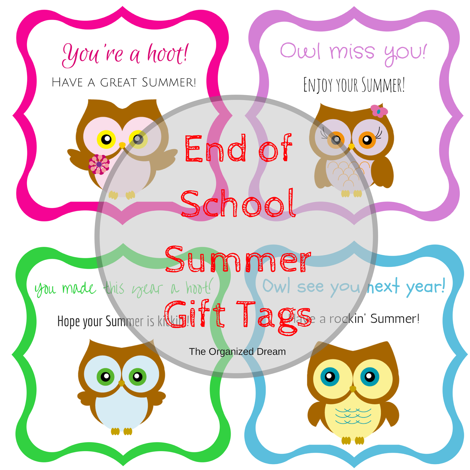 photograph about Owl Miss You Printable titled Free of charge Owl Conclusion of Faculty Reward Tag Printables - The Well prepared Desire